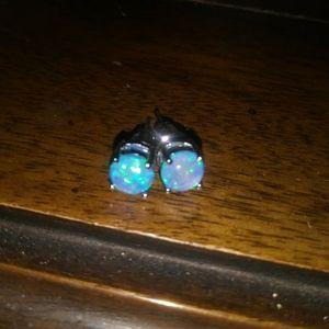 Jewelry - NEW! Stunning Blue Fire Opal Earrings
